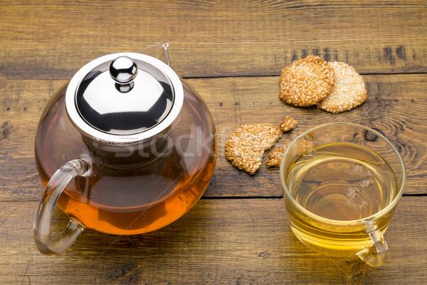 ガラス カップ 緑茶 ティーポット クッキー ごま ストックフォト © ironstealth