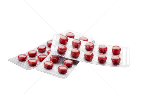 изолированный красный таблетки волдырь Pack белый Сток-фото © ironstealth