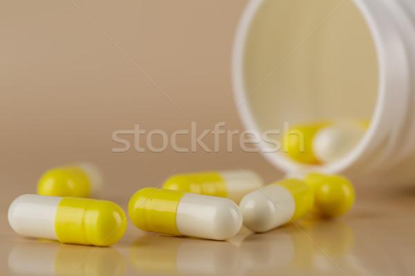 Hoop Geel pillen capsules beige Stockfoto © ironstealth