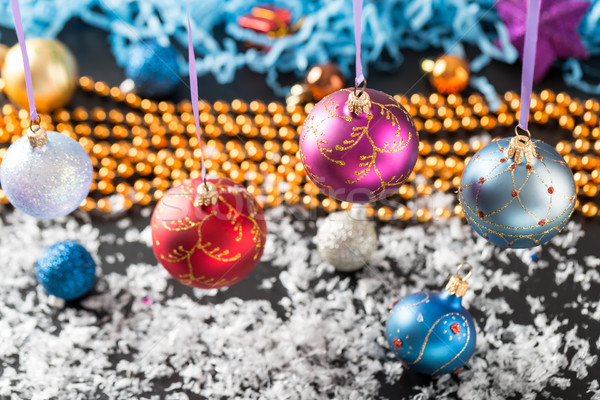 Colorful Christmas balls on shiny background Stock photo © ironstealth
