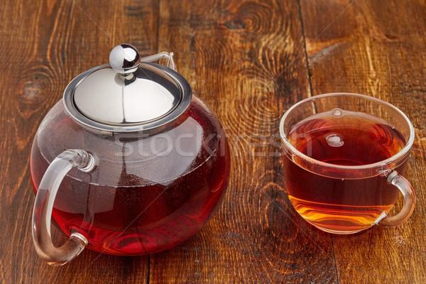 Establecer vidrio tetera taza negro té Foto stock © ironstealth