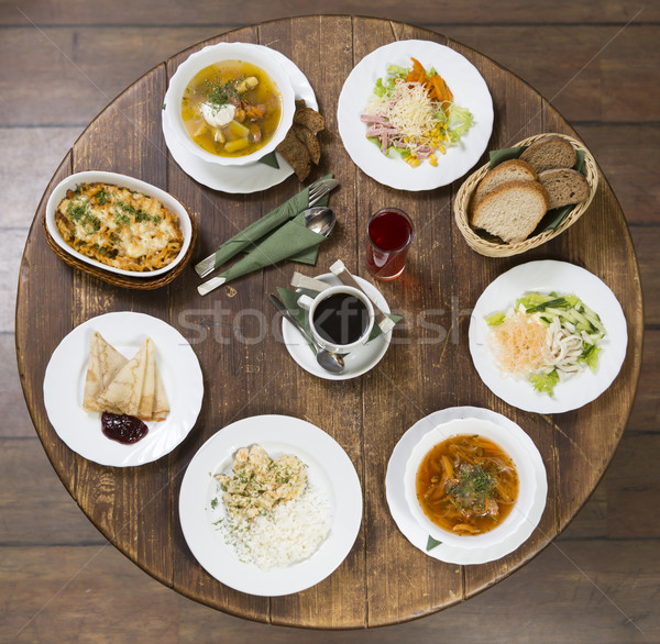 Business lunch on a vintage round table. Monday Stock photo © ironstealth