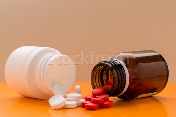 Stockfoto: Pillen · pil · fles · hoop · gekleurd · medische
