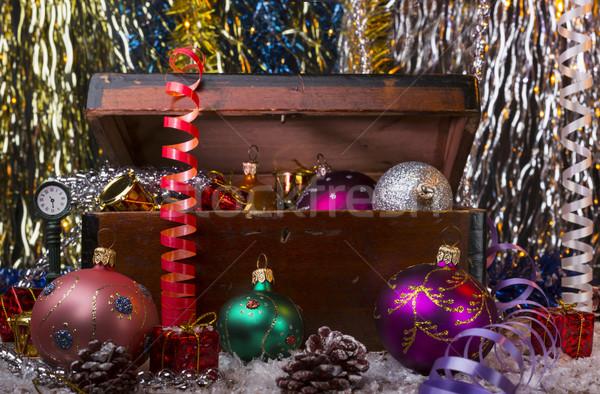 Noël vieux bois boîte brillant Photo stock © ironstealth