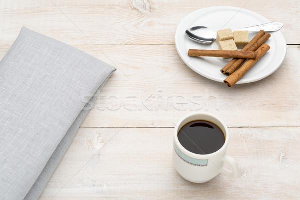 Кубок кофе корицей тростник сахар ярко Сток-фото © ironstealth