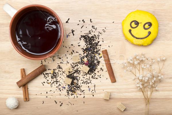 кружка черный чай смайлик завтрак Сток-фото © ironstealth