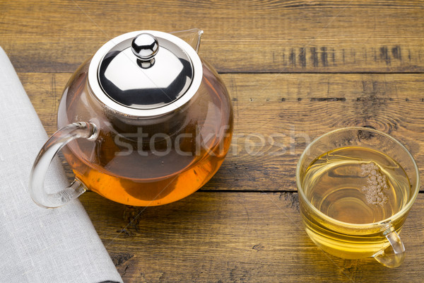 Glas beker groene thee theepot houten gezondheid Stockfoto © ironstealth