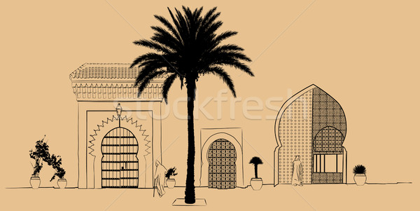 hand drawing typical street scenery in Morocco Stock photo © isaxar