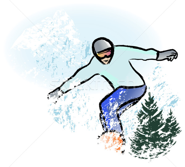 snowboarder in dry chalkcharcoal pencil and watercolor technique Stock photo © isaxar