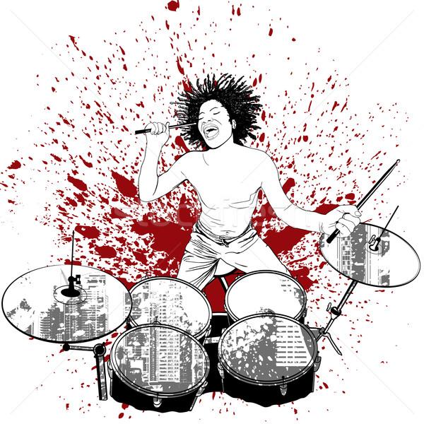 drummer on grunge background Stock photo © isaxar