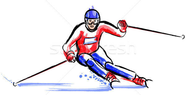 skier in dry chalkcharcoal pencil and watercolor Stock photo © isaxar