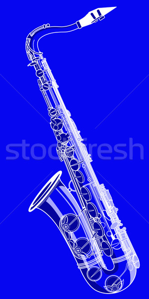 saxophone on a blue background Stock photo © isaxar