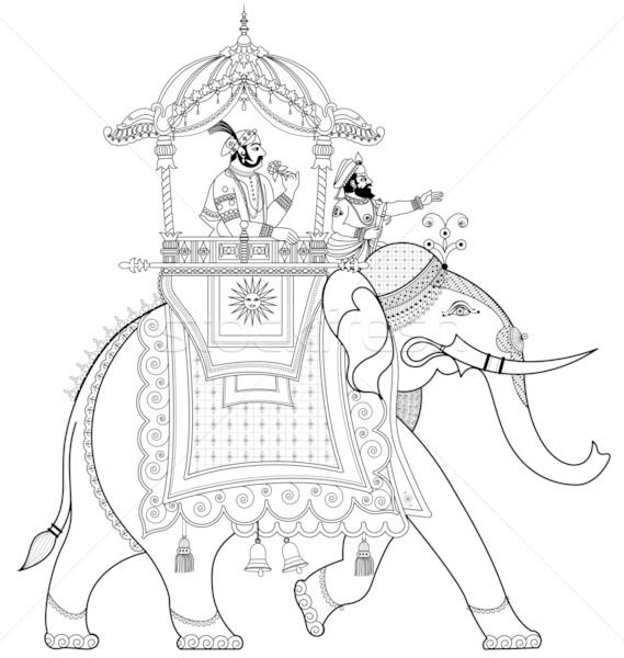 Indian Elephant Line Drawing decorated indian elephant