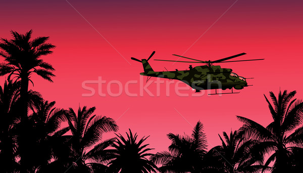 helicopter against the sunset  Stock photo © isaxar