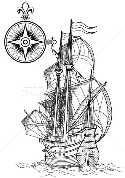 Eski yelkencilik tekne deniz gemi siluet Stok fotoğraf © isaxar
