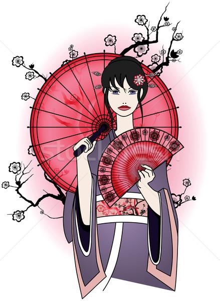 Cute гейш традиционный платье красный Японский Сток-фото © isaxar