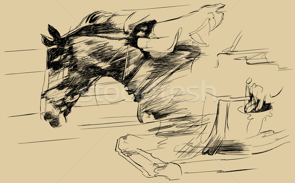illustration of a jumping horse and jockey  Stock photo © isaxar