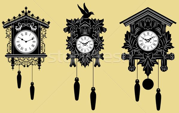 Koekoek klokken ingesteld vector hout achtergrond Stockfoto © isaxar
