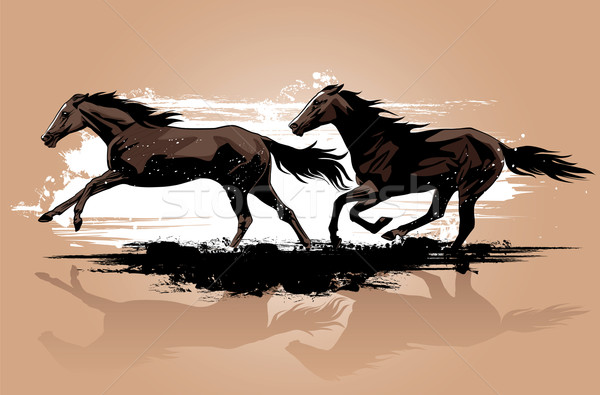Atlar çalışma at çizim Stok fotoğraf © isaxar