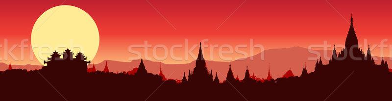 Illustrative panoramic view of Bagan in Myanmar Stock photo © isaxar