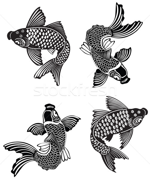 Koi geleneksel Japon mürekkep stil Stok fotoğraf © isaxar