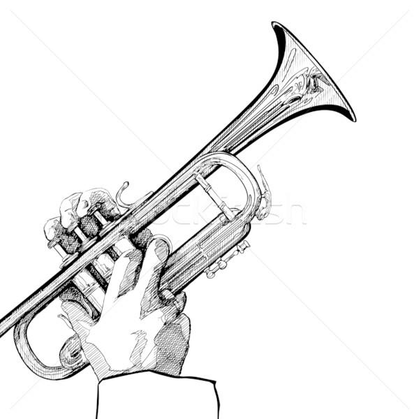 trompete · branco · fundo · mao · desenho · vetor