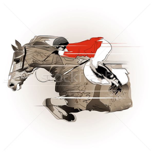 jumping horse and jockey Stock photo © isaxar