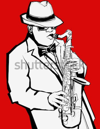 saxophonist on a grey background Stock photo © isaxar