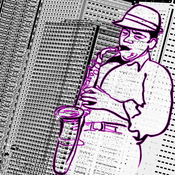 saxophonist on a city buildings background Stock photo © isaxar