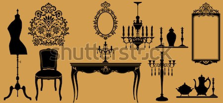 Originale antique meubles ensemble café design Photo stock © isaxar