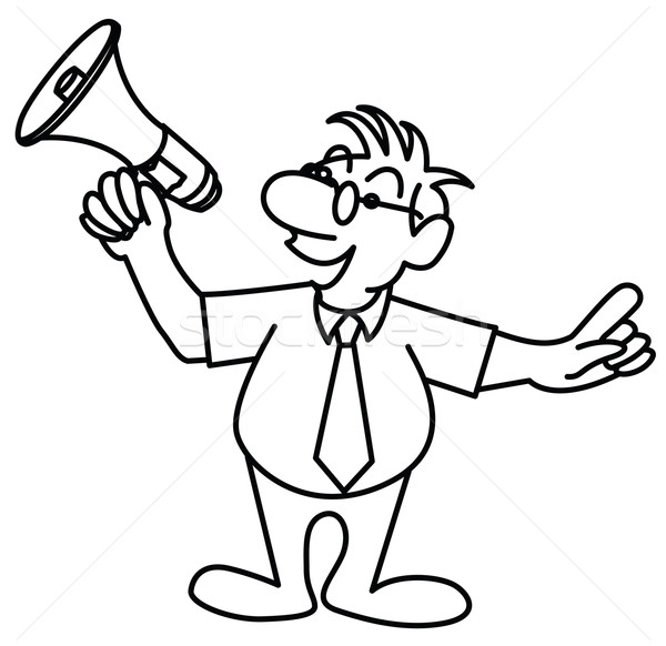little man speaking in a megaphone Stock photo © isaxar