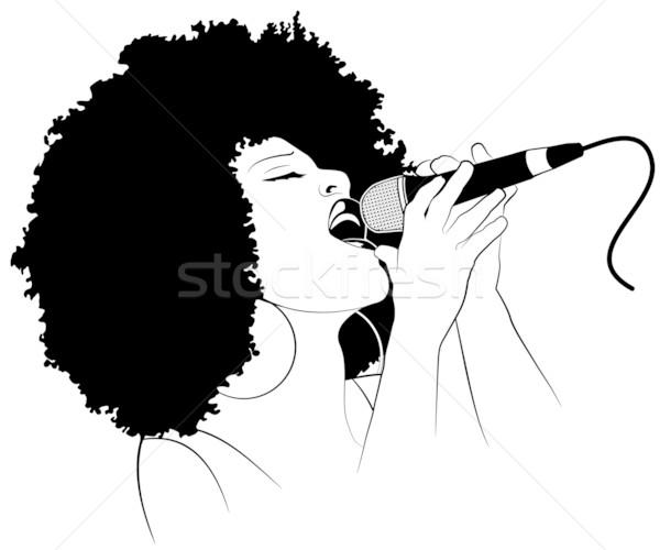 Caz şarkıcı afro amerikan mikrofon genç Stok fotoğraf © isaxar