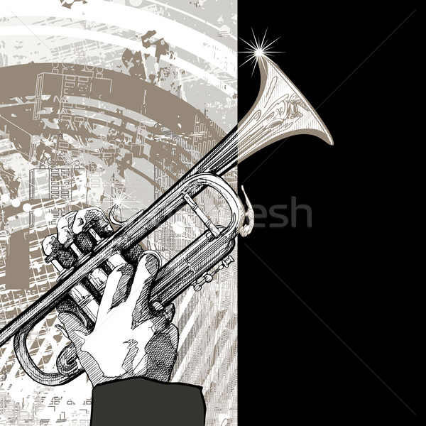 trumpet on grunge background Stock photo © isaxar