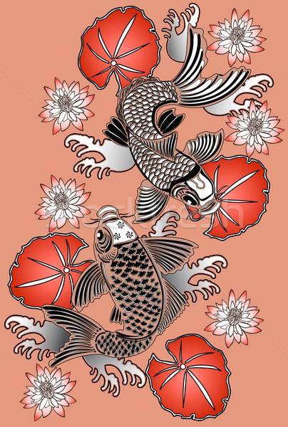 ニシキゴイ 伝統的な 日本語 インク スタイル ストックフォト © isaxar
