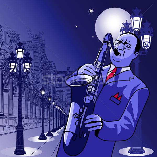 saxophonist in Paris Stock photo © isaxar