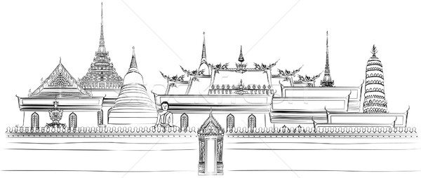 Bangkok royal palais toit vecteur Photo stock © isaxar