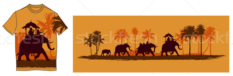 Hint filler ağaç adam inşaat palmiye Stok fotoğraf © isaxar