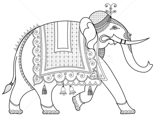 Decorado indiano elefante homem Ásia Índia Foto stock © isaxar
