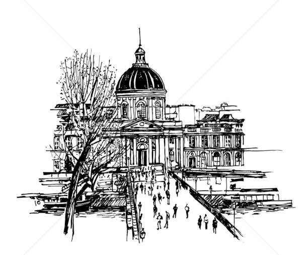 Sanat Paris el çizim şehir köprü Stok fotoğraf © isaxar