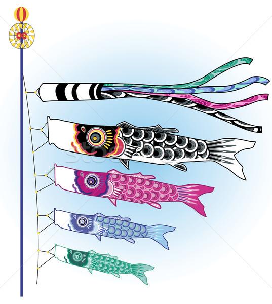 Balık Japon boyama rüzgâr renkler uçurtma Stok fotoğraf © isaxar