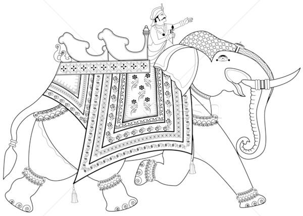 Foto stock: Decorado · indiano · elefante · homem · Ásia · Índia