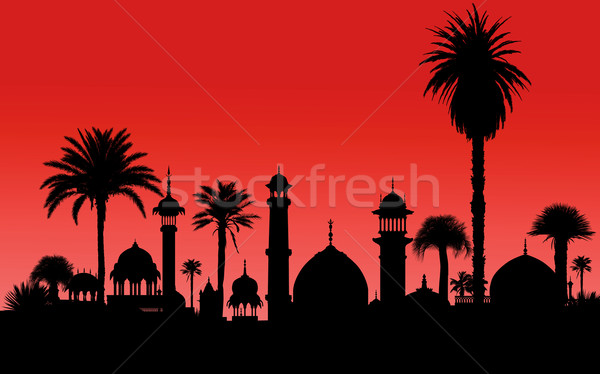very detailed vector indian monument and palm trees silhouettes Stock photo © isaxar