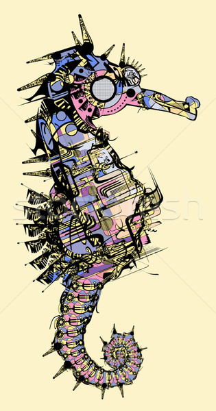 stylised seahorse drawing Stock photo © isaxar