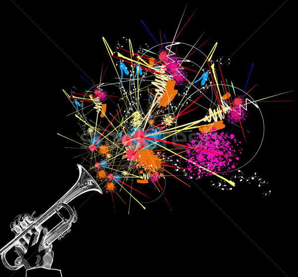 trumpet with colorful abstract decoration Stock photo © isaxar