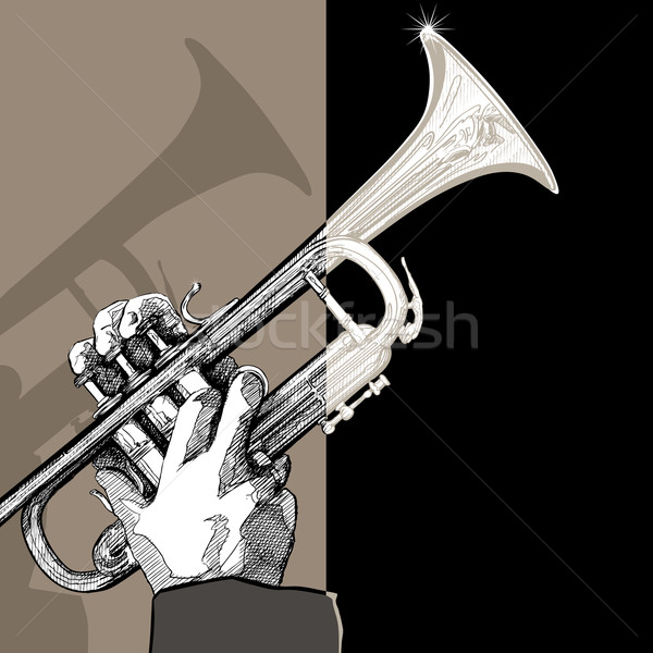 trumpet on brown background Stock photo © isaxar