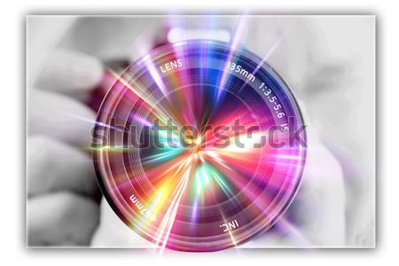 photographing lens in the hands of the photographer Stock photo © Iscatel