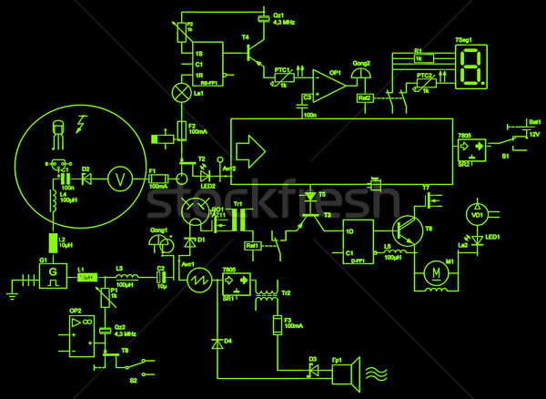 Résumé électrique circuit ordinateur fond cadre Photo stock © Iscatel