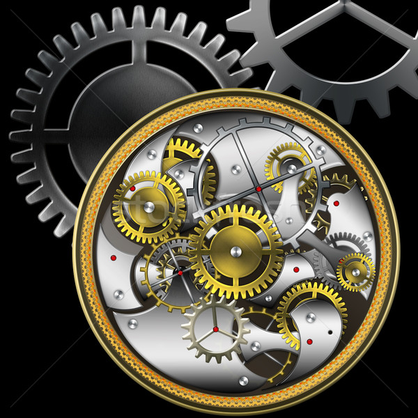 Mechaniczny technologii tle złota retro oglądać Zdjęcia stock © Iscatel
