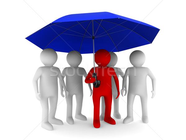Homme bleu parapluie blanche isolé 3D Photo stock © ISerg