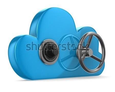 Foto stock: Nuvem · chave · branco · isolado · 3D · imagem